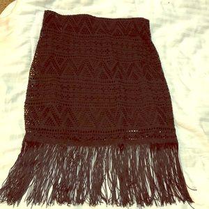 Black fringe mini skirt